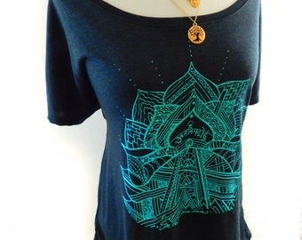 Om- Lotus  yoga tee shirt- off the shoulder scoop neck-soft and casual fit-hand drawn design in turquoise
