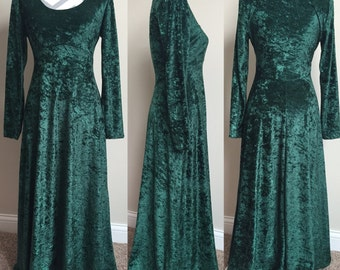 Vintage Crushed Green Velvet Dress Size Small