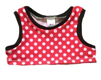 Minnie Mouse Tank/Crop Top/Raglan- Baby Toddler Child custom- Handmade to order
