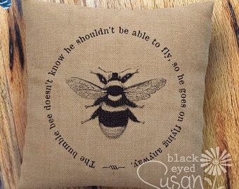 "Bumble Bee Pillow Cover | Natural 100% Cotton Canvas or Burlap | 12""x12"" 16""x16"" 20""x20"" 