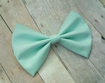Mint Green Fabric Hair Bow Clip or Headband/ Mint Green Hair Bow / Mint Green Bow Clip Pastel Mint Bow /Mint Green Fabric Bow /Pale Mint Bow