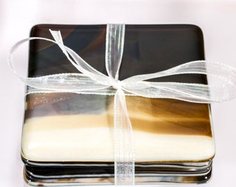 set of 4 glass coaster, brown and cream coaster, hostess gift, fused glass coasters