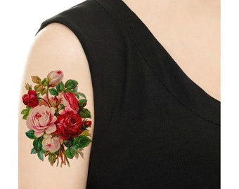 Temporary Tattoo - Vintage Floral - Rose or Daisy - Various Sizes