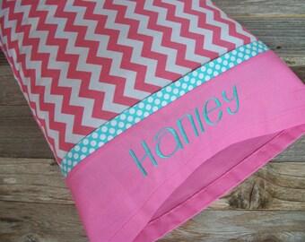 Personalized Toddler Pillow/Pink Chevron & Aqua Blue Toddler/TRAVEL Size Pillowcase/Pillow (Optional)