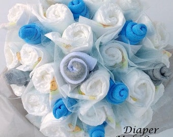 Diaper Bouquet - Baby Shower Decor - Unique Baby Shower Gift - Decorations - Gift For New Mom - Unique Baby Gift