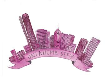 Pink Oklahoma City Skyline Art Print - 8x10