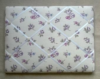 Memo/Pin Board in Heather Rosebud fabric - 40cm x 30cm