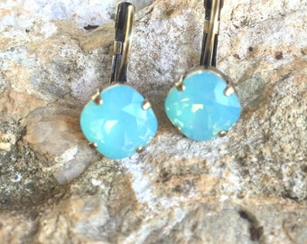 Swarovski Earrings, Genuine Swarovski Pacific Opal Earrings, 10mm Cushion Cut, Leverback Earrings, Antique Brass, Wedding Earrings