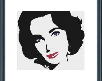 Elizabeth Taylor cross stitch pattern,pdf file