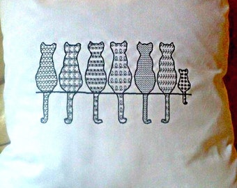 Dog & Cat Patterned Embroidered Cushion cover - Choose your own design / Colours