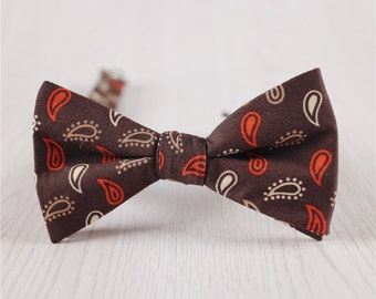 brown wedding bowties.brown red bowtie.floral printed bowties.vintage bow tie.self tie bow tie.cheap cotton bowties.groomsmen bow tie+bt50