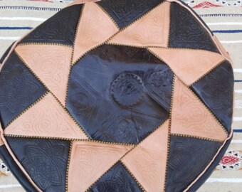 Pouf, pouffe, leather pouffe, beige pouffe, black pouffe, leather pouf, Moroccan pouffe, Moroccan black pouffe.