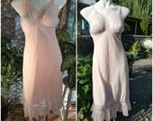 293--Gorgeus lingerie/Slip-Size 34-Soft pink-Lace decoration-Ruffled bottom-Sensual-Virgin bride-Feminine-Slip-Womens undergarment-Honeymoon