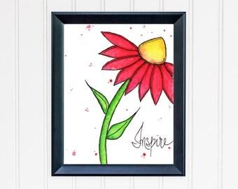 Inspire Red Daisy Art Print. Motivational Wall Art. Red Daisy Art Print. Mother's Day Gift. Office Wall Art. Gift for Mom. Gift for Her.