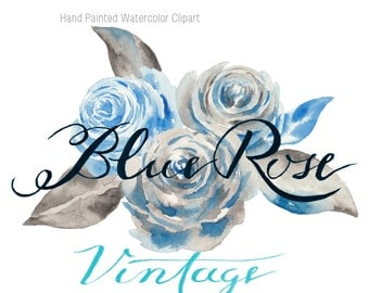 Watercolor Clipart Blue Roses #2 Vintage /Hand Painted Watercolor Clipart