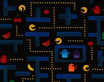 half yard (105cm x 45cm) cotton fabric - Pac-Man Video Game on Black from Timeless Treasure