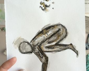 Crow Pose, Yoga illustration, Yogi print, Minimal artwork, Black and gold ink, Namaste painting, Yoga pose drawing, Original A5 piece.