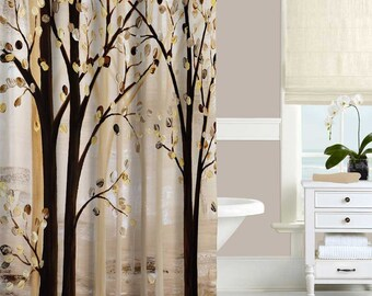 Art Shower Curtain Brown Shower Curtain, Beige Cream Abstract Curtain, Tree  Shower Curtain,