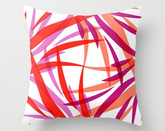 Red and White Throw Pillows, Salmon Pink Purple Pillow Covers Cushions Home Decor Colorful Pillows for Couch Sofa Pillows Decorative Pillows