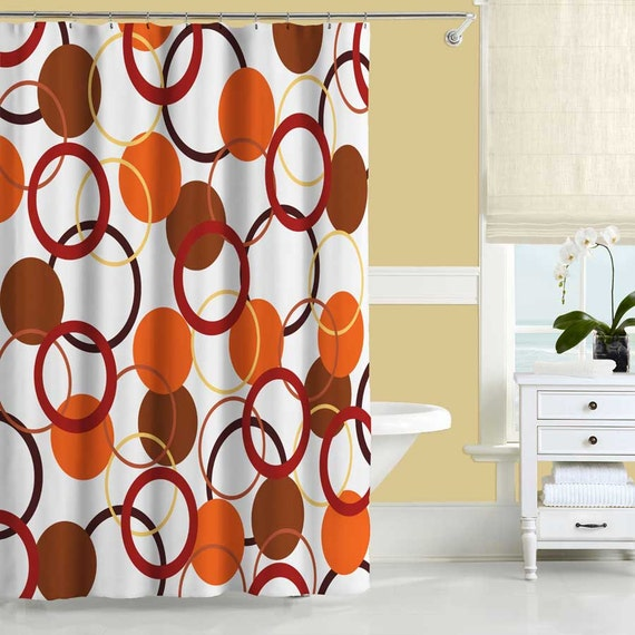 Orange shower curtain yellow and red bathroom decor bath for Yellow and brown bathroom decor