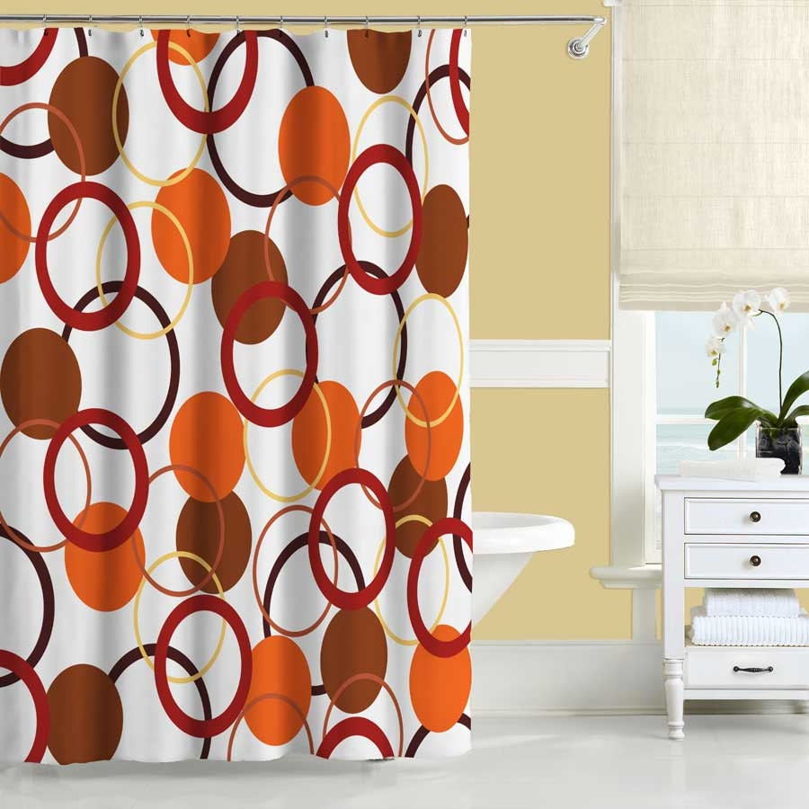 Orange Shower Curtain Yellow And Red Bathroom Decor Bath