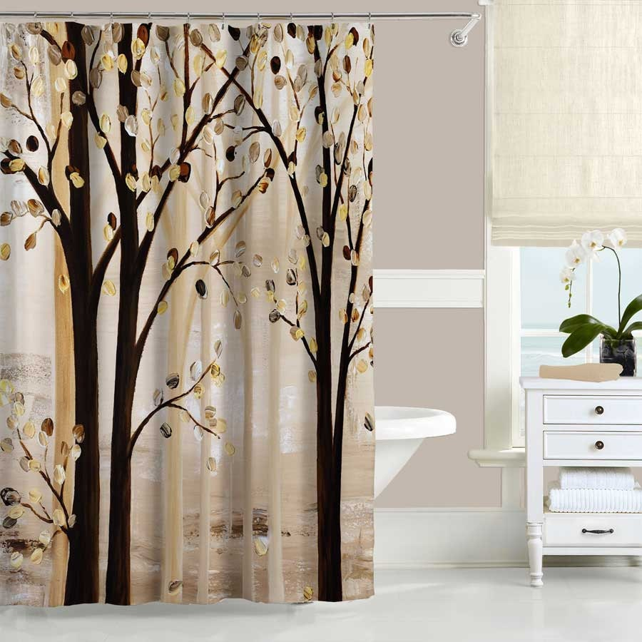 cream and brown bathroom accessories.  zoom Art Shower Curtain Brown Beige Cream Abstract
