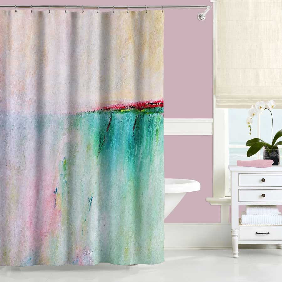 Pink Shower Curtain Turquoise Teal Pink Curtain Coastal