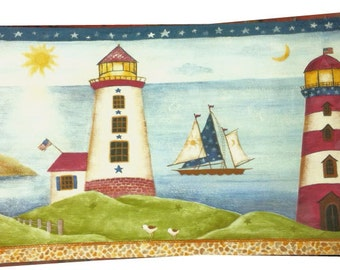 Nautical Lighthouse Celestial Star Moon Sun Sail Boat Blue Wall paper Border