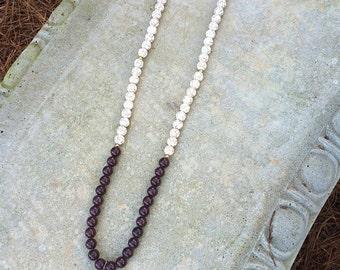 Cream & Brown Necklace + Geode Pendant