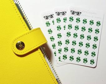 Cute Chic Dollar Sign Stickers for Erin Condren, Kikki-k, filofax, midori, fauxdori plannners