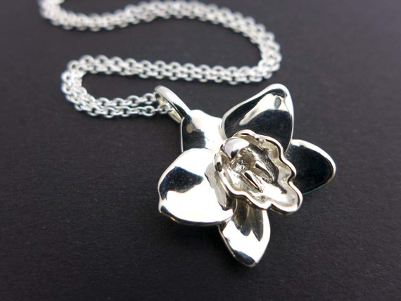 Cymbidium Boat Orchid Pendant - Botany- Science Jewelry in bronze, brass & silver