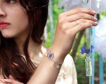 Geometric jewelry, everyday jewelry, boho jewelry, resin bracelet, cornflower jewelry, botanical jewelry, floral bangle, resin flower bangle