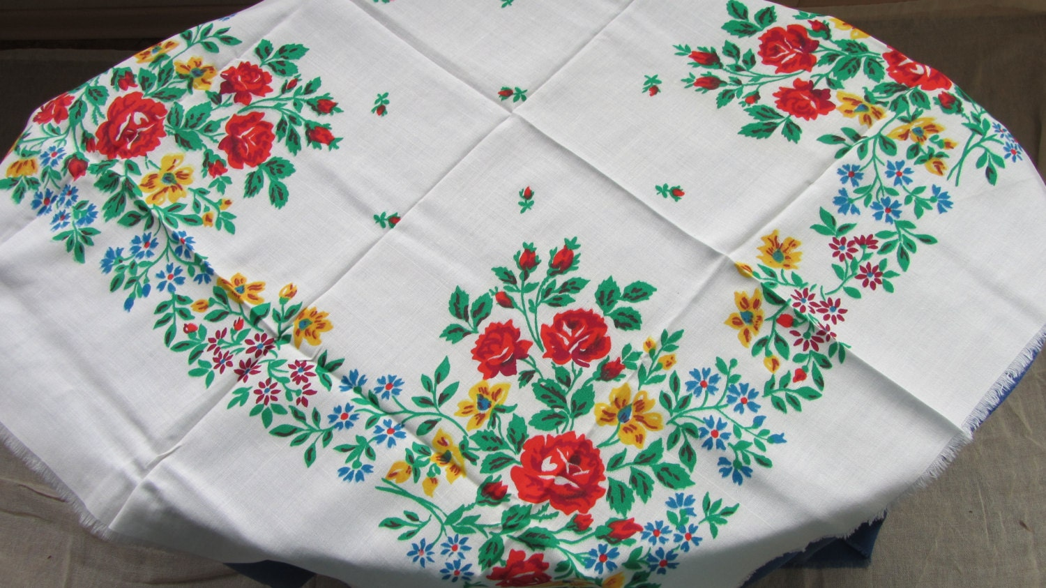 Floral cotton white shawl,  Red, yellow, green Ukrainian shawl, Vintage sheer sh