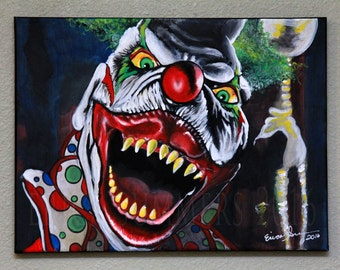"""12x16"""" Demonic Toys JACK ATTACK Jack in the Box Clown Canvas Painting"""