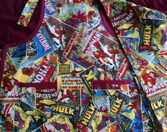 Boys Marvel Comics Apron with Pockets Boys Super Hero Apron with Bandana