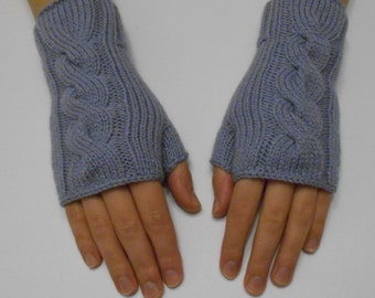 Gray hand knit fingerless gloves, knitted gloves, grey fingerless gloves