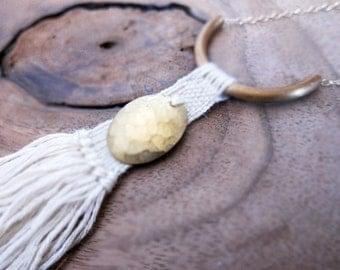 Boho Hammered Brass Woven Fiber Necklace, weaving, tassel necklace, fiber jewelry, warrior necklace, brass necklace, textile art, fringe