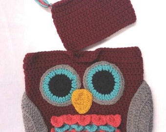 Crochet owl cocoon and matching hat *ready to ship*