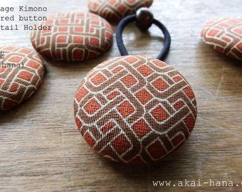 Vintage Kimono Covered Button Ponytail Holder, Brown Geometric