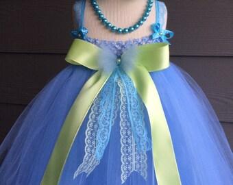 Flower Girl princess light Blue and lime Dress Tutu Easter Birthday Wedding Christmas Dressy Holiday photo shooting. 0m-5T costume valentine