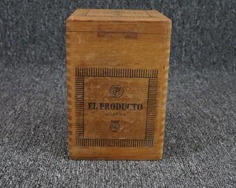 Vintage El Producto Queens Wood Standing Hinged Cigar Box