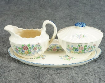 Vintage Porcelain Creamer And Sugar Bowl With Lid And Tray