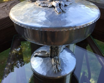 Hand Wrought Creations Aluminum lidded compote - tulip handle compote - Rodney Kent - 1950's aluminum - aluminum compote - centerpiece