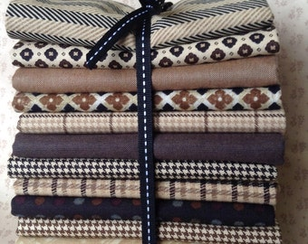 The Menswear Bundle of 12 fat quarters.