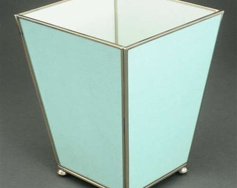 Mint Green Metal and Glass Waste Baset