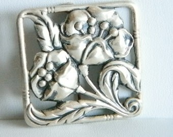 Sterling Silver Square Flower Pin Brooch