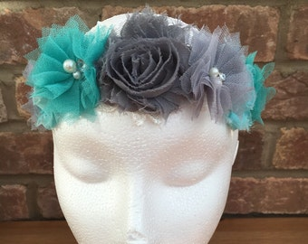 Grey Turquoise Tulle Floral Headband. Wedding. Festival. Bridesmaid. Special Occasion.