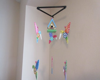 Colorful Hand Painted Wood Mexican Folk Art  Mobile