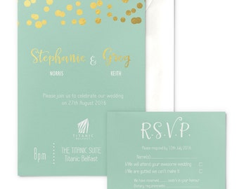 SAMPLE Mint and gold glitter lights wedding invitation with envelope, gold-foiled, matching RSVP optional