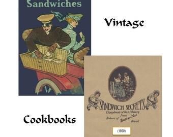 Sandwiches Recipes Sandwich Secrets Vintage Cookbooks Digitized PDF Lot of 2